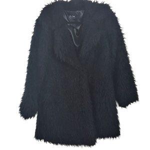 Fluffy fuzzy black shag coat jacket faux fur